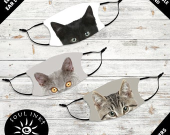 Cat Lovers Kid's Face Mask | Adjustable Ear Loops | Washable Face Mask | Christian Face Mask | Breathable Face Mask | Reusable Face Mask