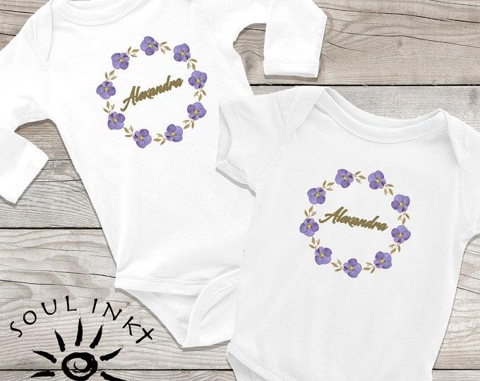 Custom Purple Flower Wreath Baby Onesie | Custom Baby Outfit | Baby Gift | Baby Girl | Baby Shower Gift | Gift For New Mom | Flower Onesie