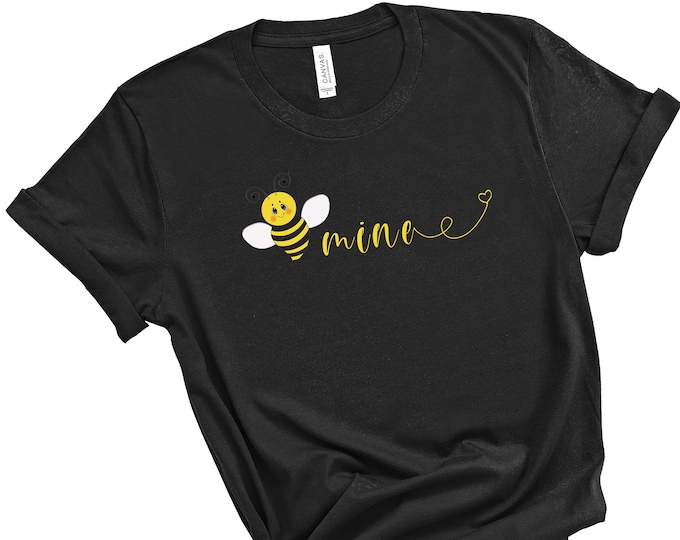 Bee Mine Women's Short Sleeve Tee, Bumble Bee T-shirt, Valentine's Day T-shirt, Cute Valentine's Tee, T-shirt For Women, Gift For Her