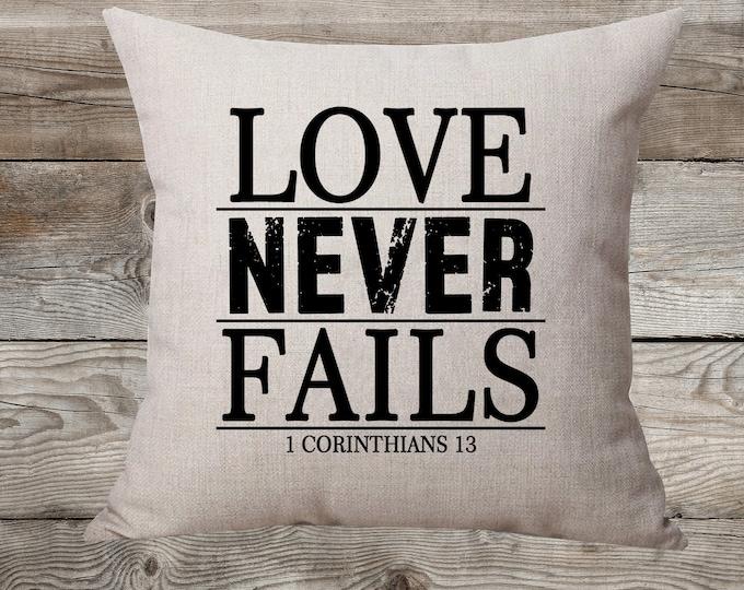 Love Never Fails - Linen Pillow
