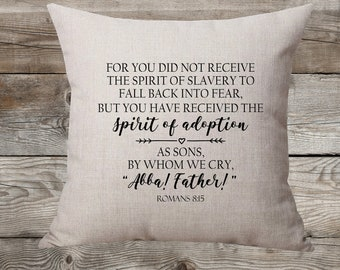 Abba! Father! Romans 8:15 Linen Pillow Cover