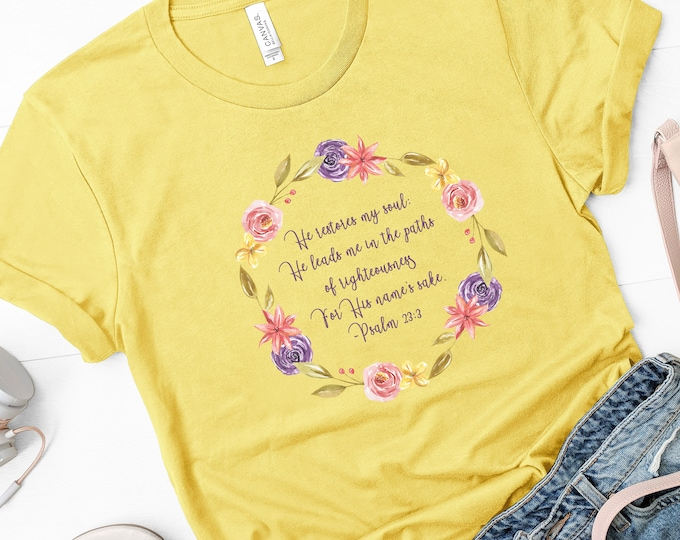 He Restores My Soul Women's Short Sleeve Tee, Christian Tee, Psalm 23, Gift For Women, Christian Apparel, Religious Gifts