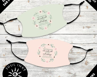 A Woman Who Walks With God, Washable And Reusable Christian Face Mask
