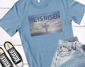 Matthew 28:6-7 |  He Is Risen | Men's Short Sleeve Tee | Christian t-shirt | Religious t-shirt | Faith t-shirt | Men's t-shirt