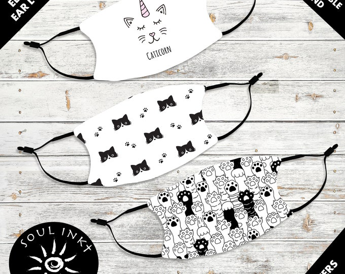 Kid's Cat Lover Face Mask | Adjustable Ear Loops | Washable Face Mask | Christian | Breathable Mask| Reusable Face Mask | Soft