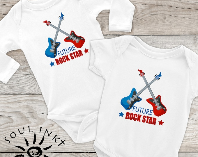 Future Rock Star Baby Onesie | Guitar Outfit | Baby Gift | Baby Girl | Baby Boy | Baby Shower Gift | Gift For New Mom | Shower Gift