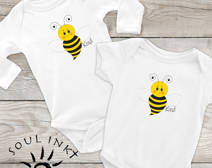 Bee Kind Baby Onesie | Bumble Bee Outfit | Baby Gift | Baby Girl | Baby Boy | Baby Shower Gift | Gift For New Mom | Shower Gift