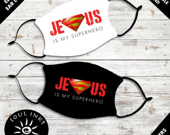 Jesus Is My Super Hero Face Mask | Adjustable Ear Loops | Washable | Reusable Face Mask | Christian Face Mask | Mask For Adults |