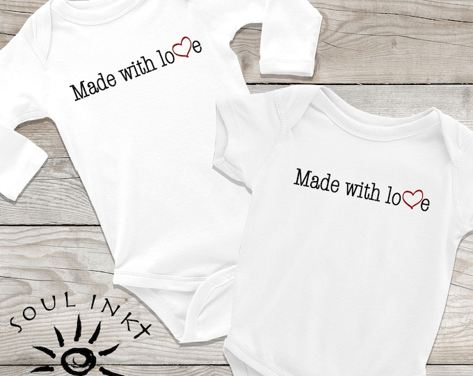 Made With Love Baby Onesie | Made With Love Outfit | Baby Gift | Baby Girl | Baby Boy | Baby Shower Gift | Gift For New Mom | Shower Gift