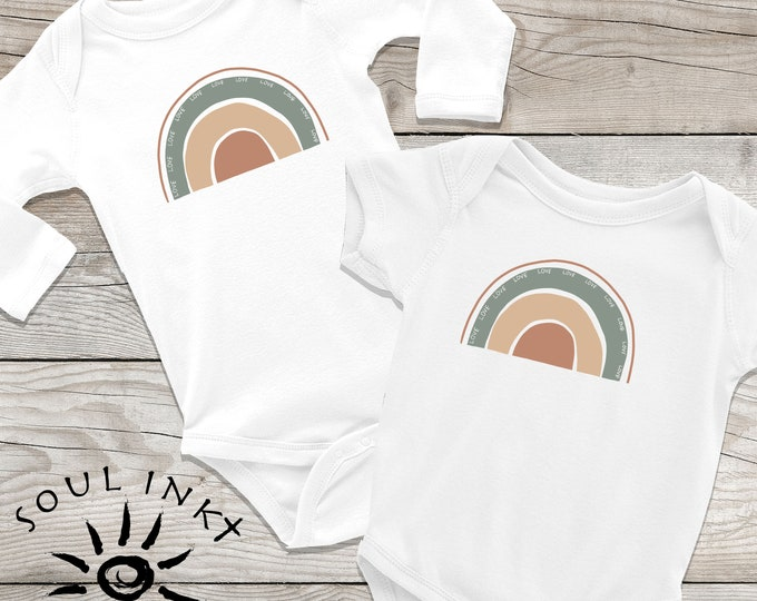 Rainbow Love Baby Onesie | Rainbow Love Outfit | Baby Gift | Baby Girl | Baby Boy | Baby Shower Gift | Gift For New Mom | Shower Gift