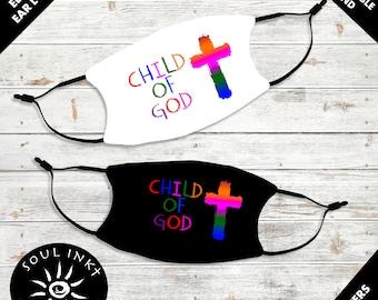 I'm A Child Of God Kids Face Mask | Adjustable Ear Loops | Washable Face Mask | Christian | Breathable Face Mask | Reusable Face Mask