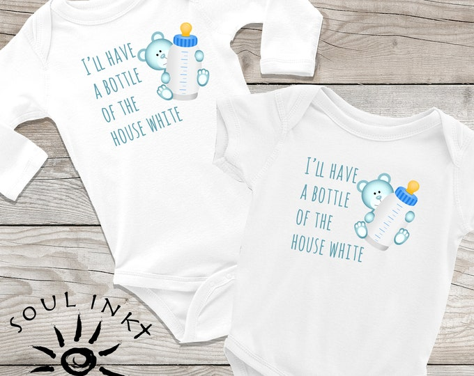 Bottle Of House White | Baby Onesie | Baby Bottle | Baby Gift | Boy Outfit | Baby Boy | Baby Shower Gift | Gift For New Mom | Shower Gift