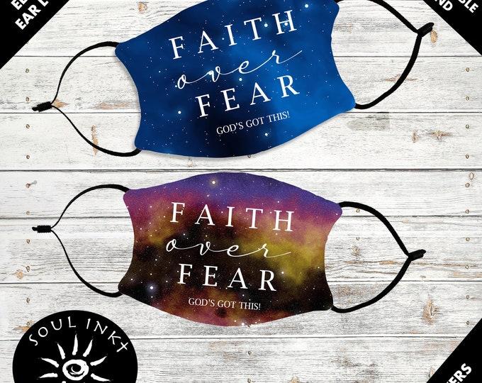 Faith Over Fear Face Mask   Adjustable Ear Loops   Space    Washable Face Mask   Christian Face Mask   Breathable Mask   Reusable Face Mask