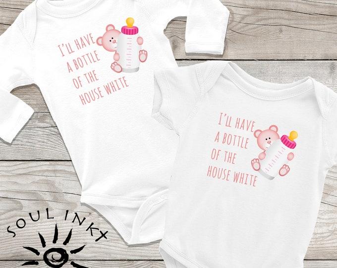Bottle Of House White | Baby Onesie | Baby Bottle | Baby Gift | Girl Outfit | Baby Girl | Baby Shower Gift | Gift For New Mom | Shower Gift