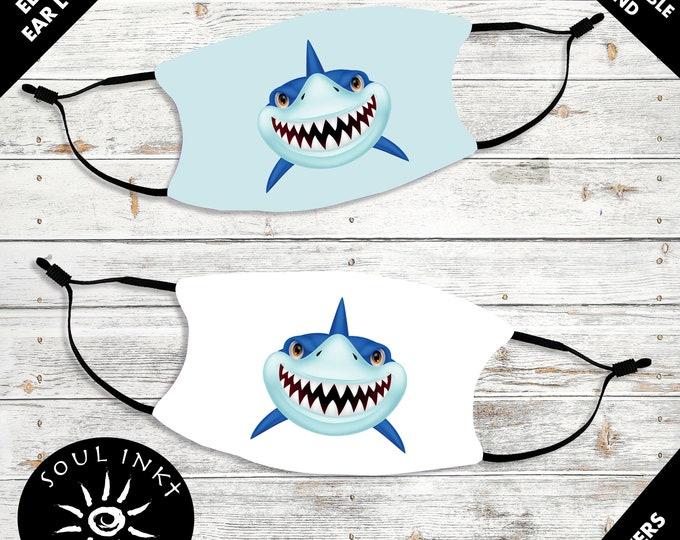 Shark Kid's Face Mask | Adjustable Ear Loops | Washable Face Mask | Christian Face Mask | Breathable Face Mask | Reusable Face Mask | Soft