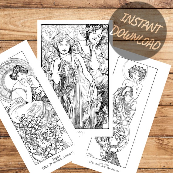 - Alphonse Mucha Adult Coloring Pages Stay At Home Quarantine Etsy