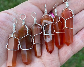 Carnelian Wire Wrapped Necklace                  NCK-0117