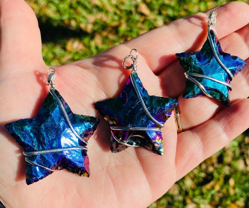Rainbow Aura Quartz /& Turquoise Reversible Copperized Bone Necklace