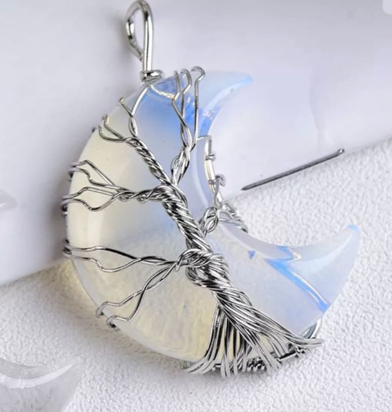 Crescent moon tree of life necklace