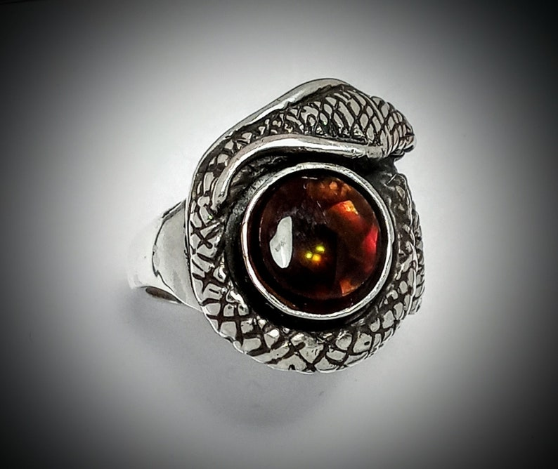 Model RC30.fireagat#126 Original Sterling Silver Snake What Is Your Size? SNAKE RING Hand Carved Fire Agate