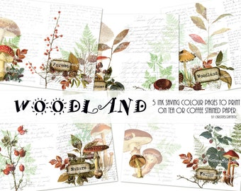 Woodland-Nature Inspired  Digital Junk Journal INK SAVING Kit, Printables, Ephemera, Digital Download, Art Journaling, Mixed Media