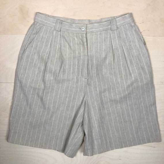 Vintage 90s Reflections Linen Striped Shorts, Ultr