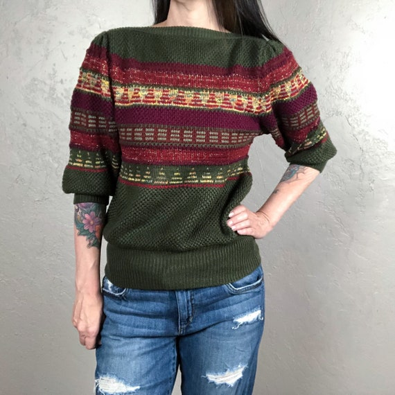 Vintage 1980s Green Cropped Chunky Knit Sweater wi
