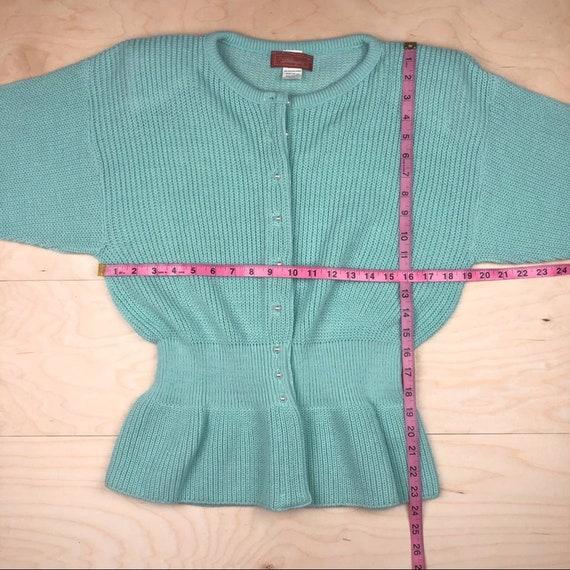 Vintage 1970s Peplum Cardigan Pastel Green - image 8