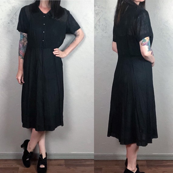 Vintage 1940s Sheer Textured Black Dress