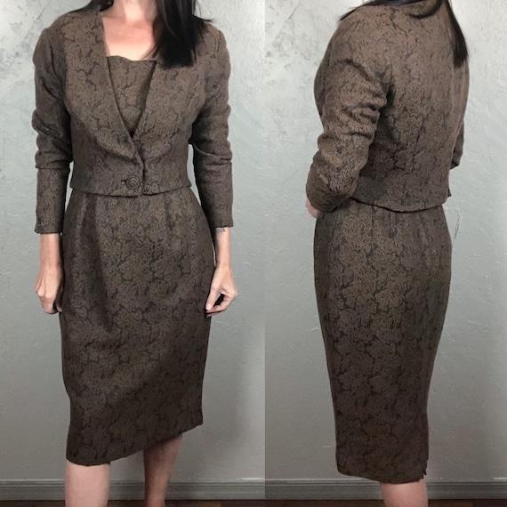 Vintage 1950s Wiggle Dress & Cropped Jacket Set Br