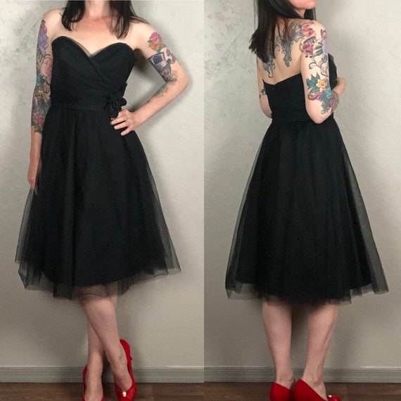 Vintage 1980s does 50s Black Strapless Tulle Dress
