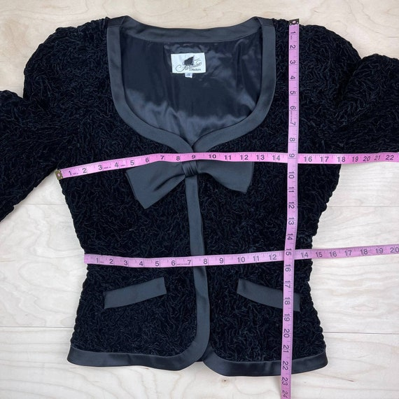 Vintage 1990s Crushed Velvet Peplum Jacket - image 4