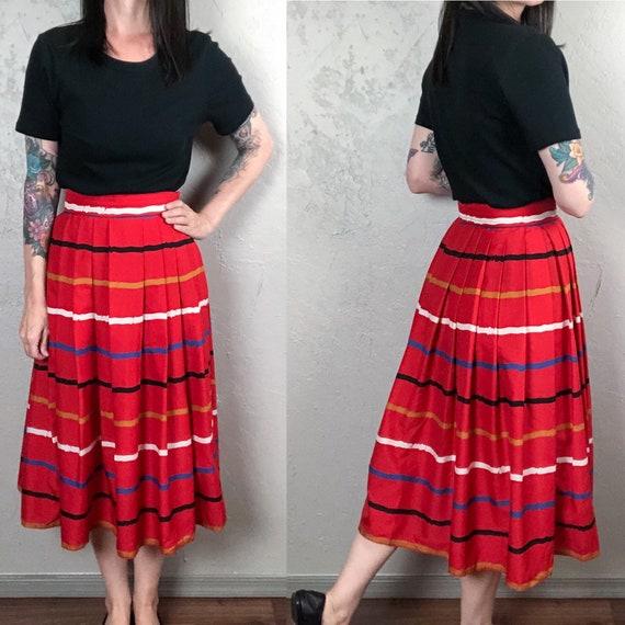 Vintage 1970s Full Skirt - Multicolored Striped Sk