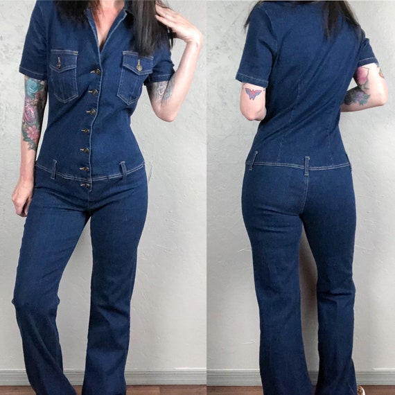 Vintage 1970s Spiegel Stretch Denim Jumpsuit Dark