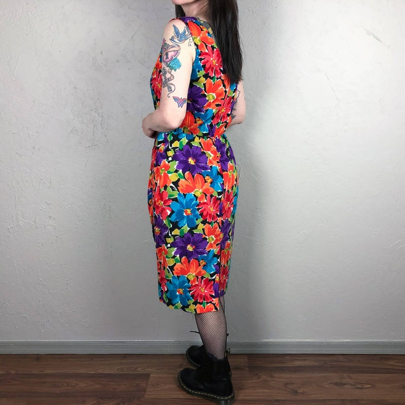 Vintage Late 70s Sleeveless Floral Dress