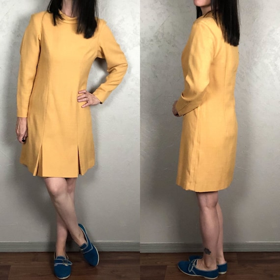 Vintage 1960s Mod Pleated Scooter Dress Yellow