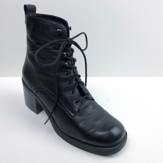 Vintage 80s Black Leather Lace Up Boots - Chunky H