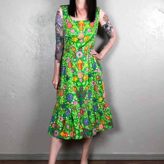 Vintage 1960s Green Floral Sundress