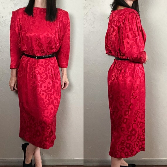 Vintage 1980s Red Silk Dolman Sleeve Dress