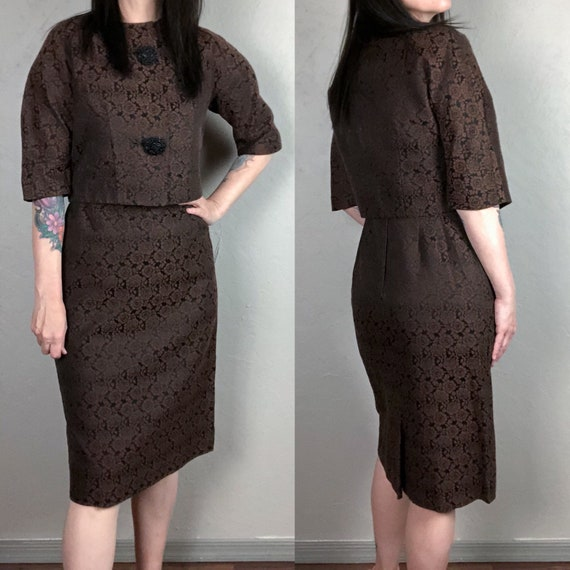Vintage 1960s Dress and Jacket Set - Brocade Dress