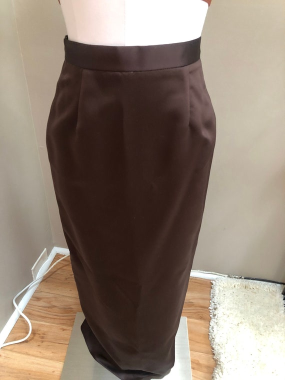 Vintage BROWN Satin Maxi Skirt