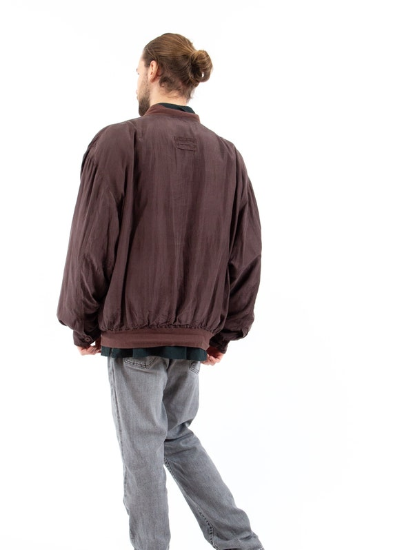 70s Vintage Retro Brown Bomber Jacket / Silk Bomb… - image 2