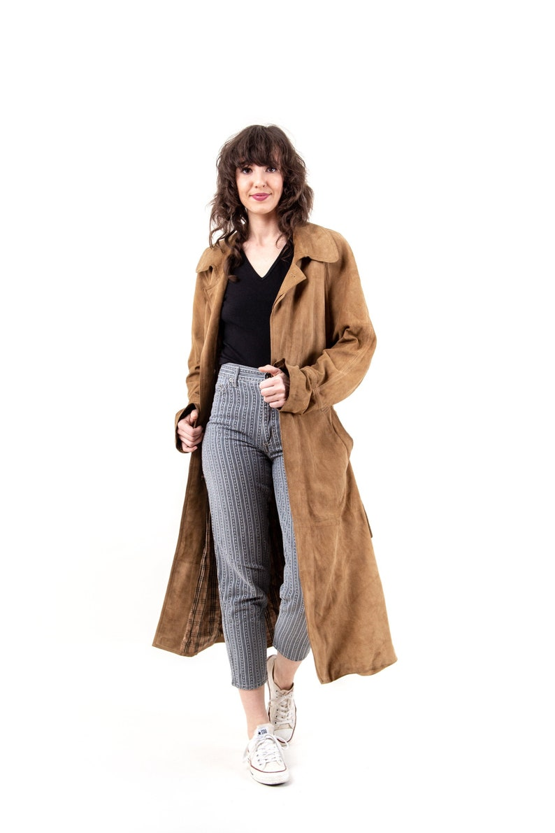 80s Vintage Minimalistic Brown Velour Leather Trench Coat  Long Parka  Long Coat  Casual   Unisex  Sustainable Second Hand Fashion