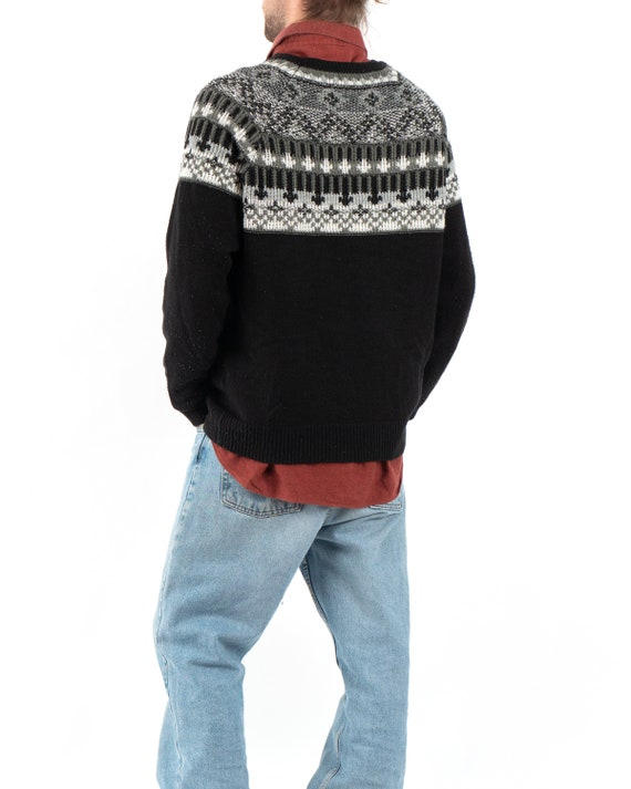Vintage Fringe Tassel Black Wool Knitted Roll Neck Sweater Jumper 80/'s