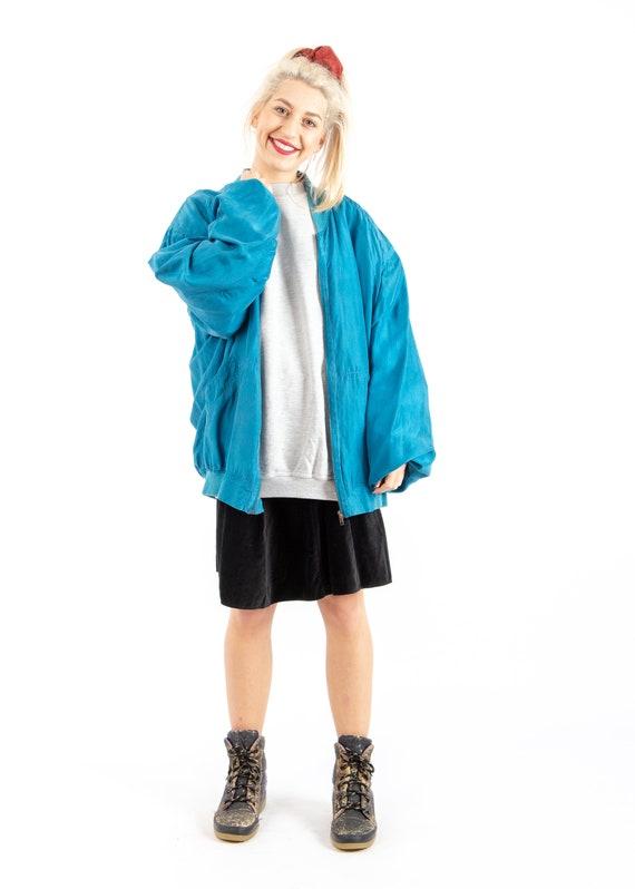 90s Vintage Retro Shiny Blue Bomber Jacket / Silk