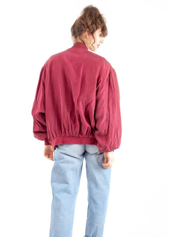 70s Vintage Retro Red Bomber Jacket / Silk Bomber… - image 4