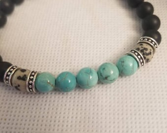 Men's or ladies Genuine Natural Turquoise with Dalmation Jasper and Black Onyx 6 mm, semi precious stones. 23.99 Free Shipping and Handling
