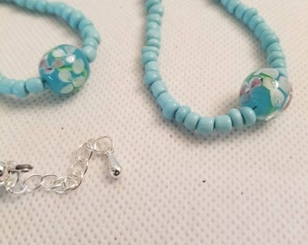 Blue beaded choker necklace with LampWork bead from Marino, Italy 17.99 Free Shipping and Handling