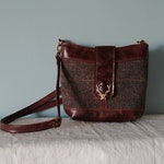 """Genuine Top grain Cowhide Leather """"Swish"""" Crossbody Bag,  With Harris Tweed Panel, Bucket Bag, and Stag Head Clasp, Canadian Made"""