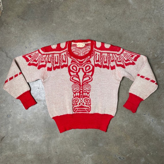 1940s JANTZEN 'Totem Pole' Pullover Sweater, sz Sm